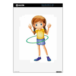 A young girl playing with the hulahoop skins for the iPad 2