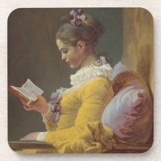 A Young Girl Reading Drink Coaster