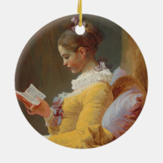 A Young Girl Reading, The Reader by J. Fragonard Ceramic Ornament