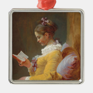 A Young Girl Reading, The Reader by J. Fragonard Metal Ornament