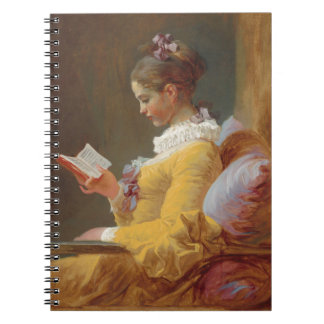 A Young Girl Reading, The Reader by J. Fragonard Spiral Notebooks
