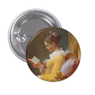 A Young Girl Reading, The Reader by J. Fragonard Pinback Button