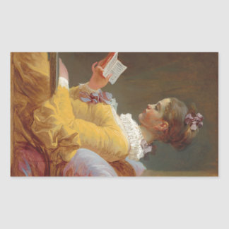A Young Girl Reading, The Reader by J. Fragonard Rectangular Sticker