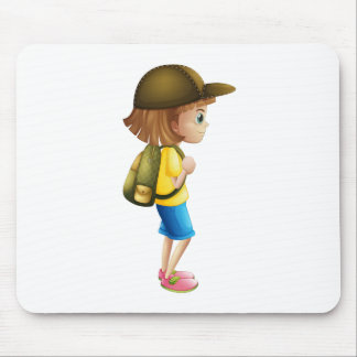 A young girl ready for hiking mouse pad