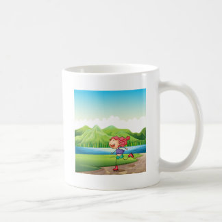 A young girl rollerskating near the river classic white coffee mug