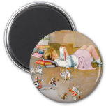 A YOUNG GIRL TAKES A TRIP TO WONDERLAND 2 INCH ROUND MAGNET