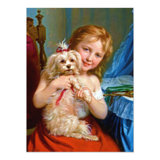 A Young Girl With A Bichon Frise (dog) ~ 6.5x8.75 Paper Invitation Card
