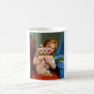 A Young Girl With A Bichon Frise (dog) ~ Coffee Mug