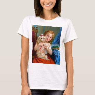 A Young Girl With A Bichon Frise (dog) ~ T-Shirt