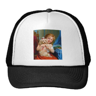 A Young Girl With A Bichon Frise (dog) ~ Trucker Hat