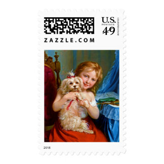 A Young Girl With A Bichon Frise.jpg Postage