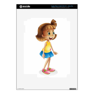 A young girl with a blue skirt decals for iPad 3
