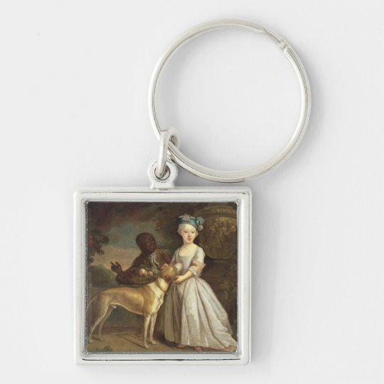A Young Girl with a Dog and a Page, 1720-30 (oil o Keychain