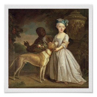 A Young Girl with a Dog and a Page, 1720-30 (oil o Poster