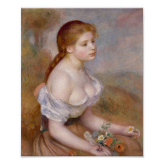 A Young Girl with Daisies - Pierre-Auguste Renoir Poster