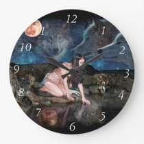 A young Indian girl kneeling at the waters edge Large Clock