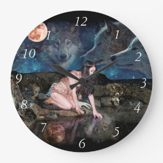 A young Indian girl kneeling at the waters edge Wall Clock