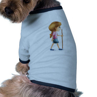 A young lady hiking with a stick dog shirt