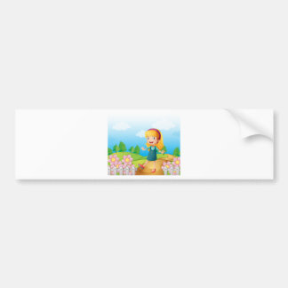 A young lady in the garden car bumper sticker
