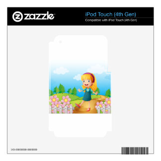 A young lady in the garden iPod touch 4G skins