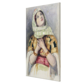 A Young Lady in Turkish Dress (w/c over pencil on Canvas Print