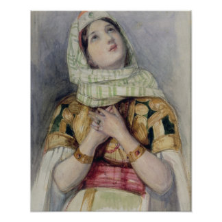 A Young Lady in Turkish Dress (w/c over pencil on Poster
