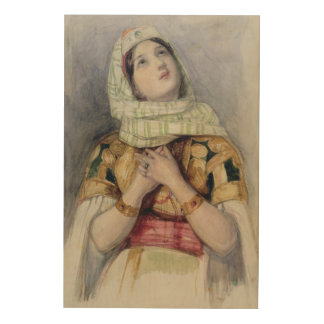 A Young Lady in Turkish Dress (w/c over pencil on Wood Wall Art