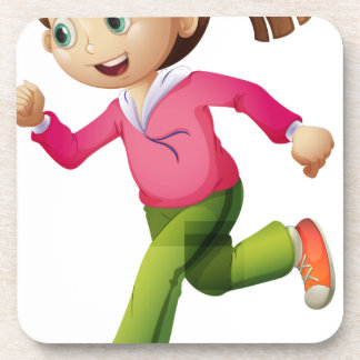 A young lady jogging beverage coaster