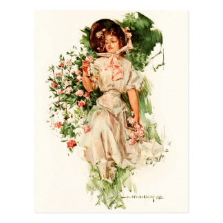 A Young Lady Picking Roses Postcard