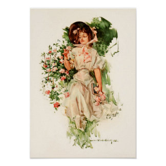 A Young Lady Picking Roses Poster