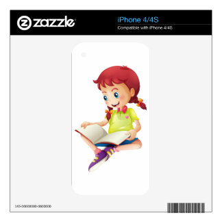 A young lady reading a book skins for the iPhone 4S