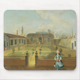 A Young Lady with her Dog in front of a Garden (se Mouse Pad