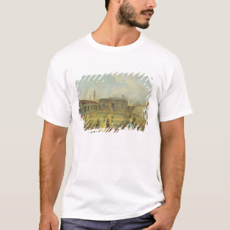 A Young Lady with her Dog in front of a Garden (se T-Shirt