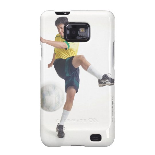 a young latin male wears a yellow soccer jersey galaxy SII cover