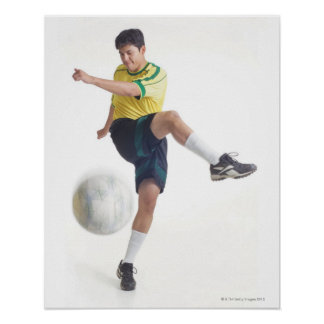 a young latin male wears a yellow soccer jersey poster