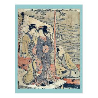 A young man at Sanbashi by Torii, Kiyonaga Ukiyoe Postcard