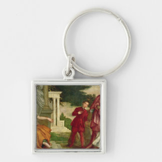 A Young Man Between Virtue and Vice Silver-Colored Square Keychain