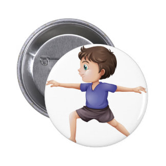A young man doing yoga 2 inch round button