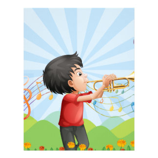 A young man near the hill playing with the trumpet personalized letterhead