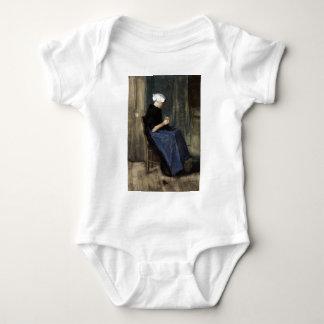 A Young Scheveningen Woman Knitting Baby Bodysuit