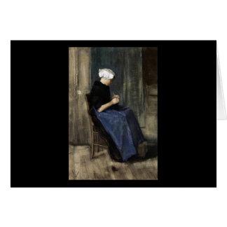 A Young Scheveningen Woman Knitting Card