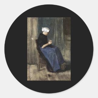 A Young Scheveningen Woman Knitting Classic Round Sticker