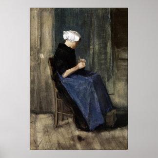 A Young Scheveningen Woman Knitting Poster