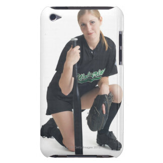 a young smiling caucasian woman is wearing a iPod touch Case-Mate case