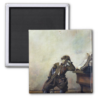 A Young Student in his Study or, The Smoker 2 Inch Square Magnet