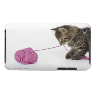 A young tabby kitten playing with a ball of barely there iPod cover