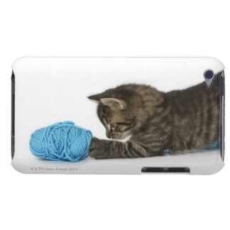 A young Tabby kitten playing with wool Barely There iPod Case