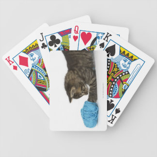 A young Tabby kitten playing with wool Playing Cards