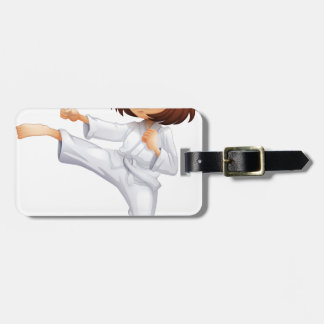 A young woman doing karate tag for luggage