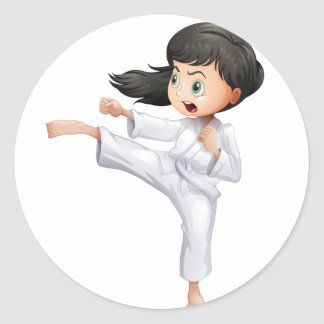 A young woman doing karate round sticker